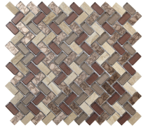 Verona Pence Copper Herringbone Glass & Stone Mosaic 15x30mm