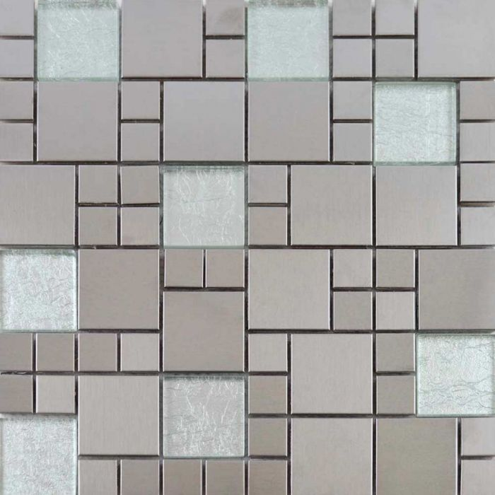 metallic random tiles silver mix mosaic tiles 297x297mm - Mosaic Tiles