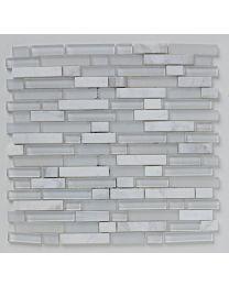 Mosaics Shades of Grey White Linear Glass Stone Mix Mosaic 305mm x 305mm