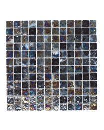 Mosaics Shades of Grey Black Hammered Glass Mosaic 305mm x 305mm