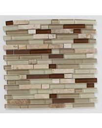 Mosaics Naturals Natural Linear Glass Stone Mix Mosaic 300mm x 300mm
