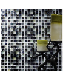 Hammered Pearl Black/White Mix Glass Mosaic 23x23mm
