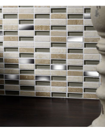 Delaware Cream Glass/Stone Mix Linear Mosaic 15x50mm