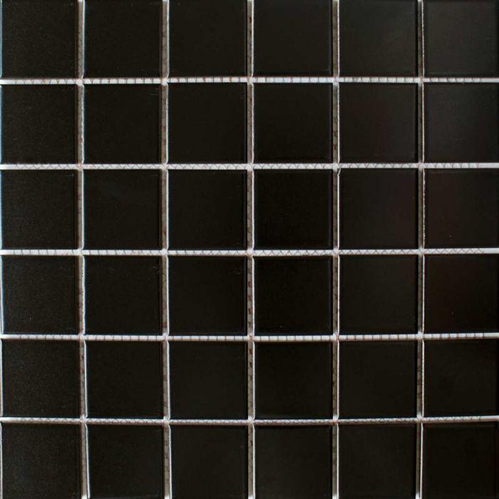 Zoro Mosaic Tiles Matt Black Square Large Tiles 316x316mm at TILEDEALER