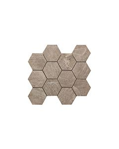 Continental Tiles Sintesi Mystone Taupe Mosaico Hexagonal Wall and Floor Tiles 3034