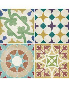 British Ceramic Tiles Parian Multicoloured Decor Tiles - 142x142mm