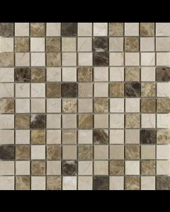 Emperador Mix Polished Marble Mosaic 25x25mm