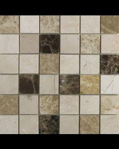 Emperador Mix Polished Marble Mosaic 50x50mm