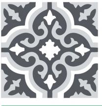 Halcon Tiles Preston Grey Porcelain Wall and Floor Feature Star Tiles 45x45
