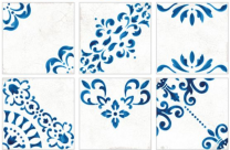 Crafted Blanc Bleu Patchwork Glazed Porcelain 185x185mm