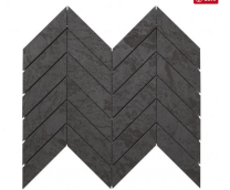 Izen Black Chevron Glazed Porcelain Mosaics