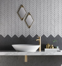 Izen White Chevron Mosaic tile