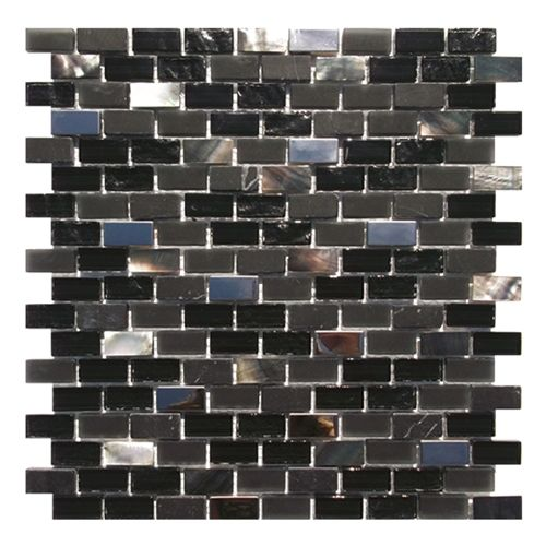 Gemini Mosaics Sea Shell Black Tile - 300x300mm