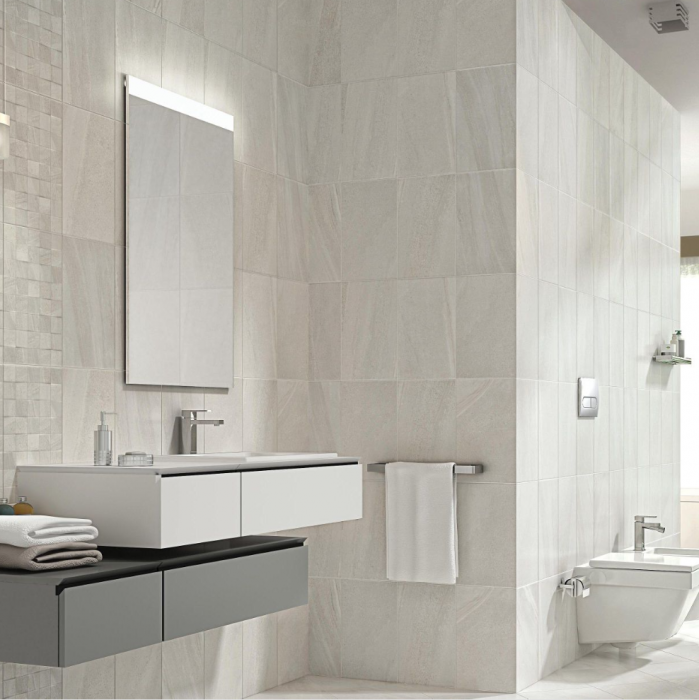 FIJI WHITE STONE EFFECT CERAMIC Bathroom WALL TILE, (L)400MM (W)250MM