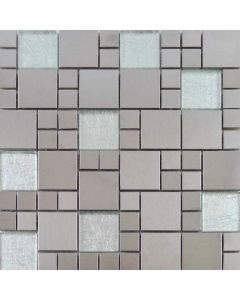 Metallic Random Tiles Silver Mix Mosaic Tiles 297x297mm