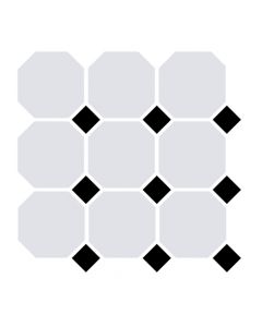 Victorian White Octagon & Black Dot Tile - 300x300mm
