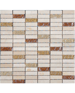 Light Beige and Tan Glass Mosaic Tile