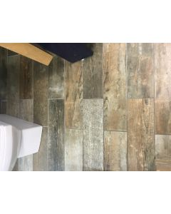 Savona grey Natural Wood Effect Porcelain Wall & Floor Tile - 150x600mm