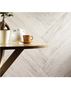 Kielder White Wood Effect Glazed Porcelain tile 150x900mm