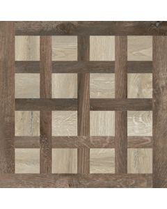 Continental Tiles Imola Kuni Intarsi AT Almond/Brown Wood Effect Floor Tiles - 600x600mm