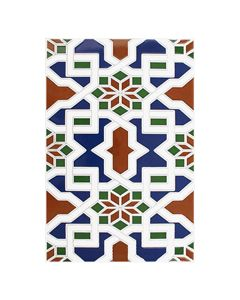 Zocalo Medina Azul Decorated Field Tile - 300x200mm