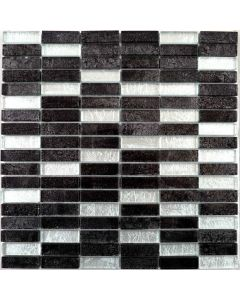Hong Kong Tiles Silver Mix Brick Mosaic Tiles 302x297mm