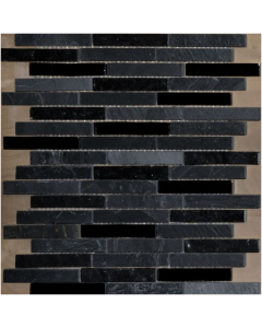 Chicago Anthracite Marble / Glass Mosaic Tile