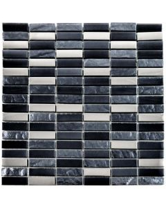 Slate Silver Mosaic Tiles Black Brick Mosaic Tiles 302x297mm