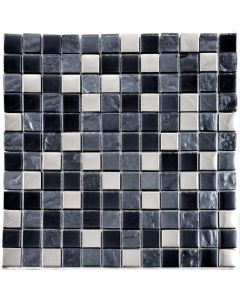 Slate Silver Mosaic Tiles Black Square Mosaic Tiles 295x289mm