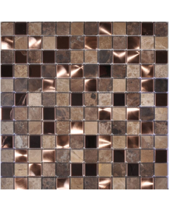 Noce Marble and Brushed Copper Mosaic Tile