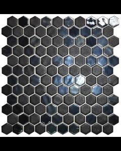 Hexagonal Mosaic Tiles Stoneglass Black Tiles - 301x290mm