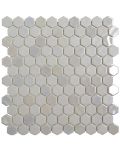 Hexagonal Mosaic Tiles Stoneglass White Tiles - 301x290mm