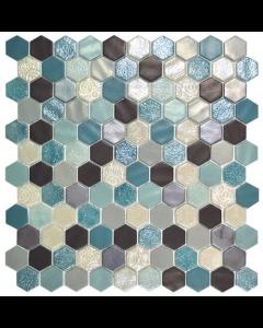 Hexagonal Mosaic Tiles Blend Aquamarine Tiles - 301x290mm