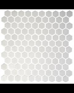 Hexagonal Mosaic Tiles Natureglass Opalo White Tiles - 301x290mm