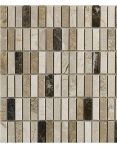 Emperador Mix Polished Marble Mosaic 15x50mm