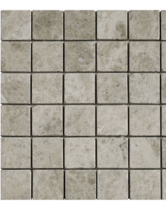 Silver Shadow Grey Tumbled Marble Mosaic 50x50mm