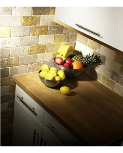 Noce Yellow White Tumbled Travertine Mosaic 50x100mm