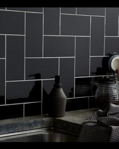 Central Black Ceramic Wall 100x200mm