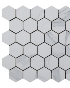 Kendal Bianco Glazed Porcelain Hexagon Mosaic