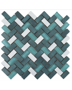 Lava Mosaic Tiles Jade - Glass & Lava Mix Herringbone Tiles