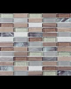 Heydon Beige Mix Stone/Glass/Metal Linear Mosaic 15x48mm