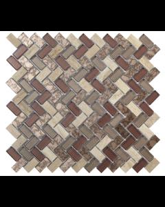 Verona Pence Copper Herringbone Glass & Stone Mosaic 15x30mm