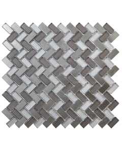 Verona Dusk Grey Herringbone Glass & Mirror Mosaic 15x30mm