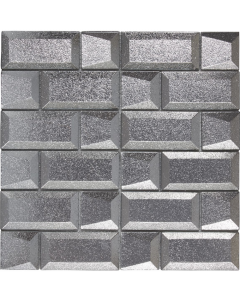 Verona Dimensions Silver 3D Glass Mixed Size Mosaic 4.8x4.8 & 4.9x9.8mm