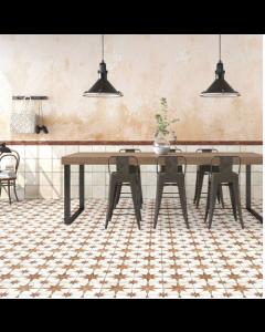 Vintage Industrial 45 Tiles Star oxide Scintilla paprika